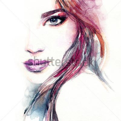 Fotomural Rosto de mulher abstrata. Ilustração de moda. Pintura aquarela