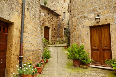 Fotomural Rua do vintage decorado com flores, Toscana, Itália