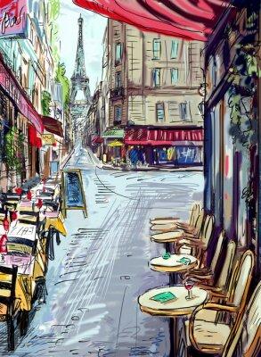 Fotomural Rua em Paris - ilustração