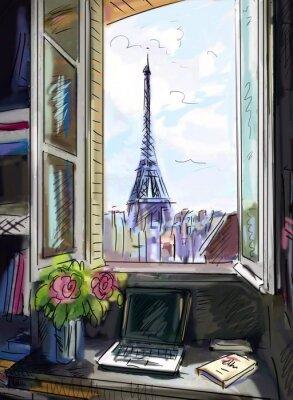 Fotomural Rua em Paris. Torre Eiffel - ilustração