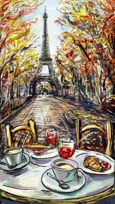 Fotomural Rua no Outono de Paris.