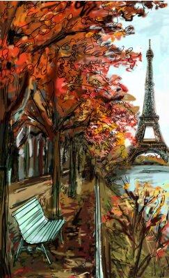 Fotomural Rua no Outono de Paris. Torre Eiffel -sketch ilustração