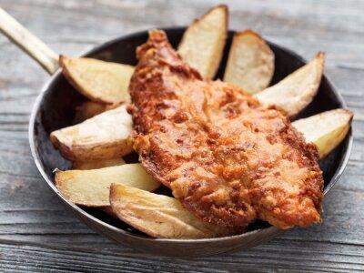 Fotomural Rústico tradicional inglês peixe e fritas