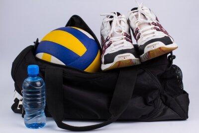 Fotomural Saco de desporto com sportswear e bola.