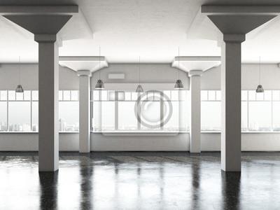 Fotomural sala de loft branco com colunas