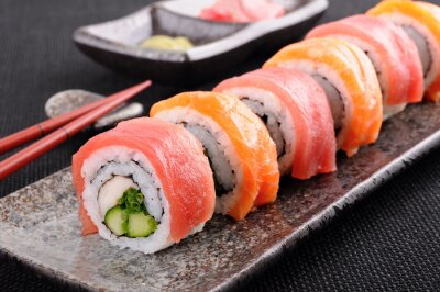 Fotomural Salmon & atum rolo de sushi