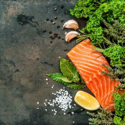 Fotomural Salmon filete de peixe com ervas especiarias. Frutos do mar