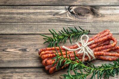 Fotomural Salsicha kabanos fumado - salsicha fina tradicional
