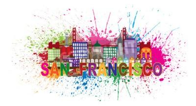 Fotomural San Francisco, Califórnia, cidade, skyline, dourado, portão, ponte, cor, texto, resumo, pintura, splatter, ilustração