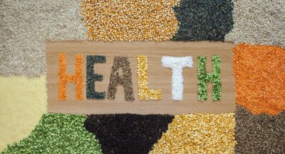 Fotomural Saúde e saúde alimentos - grãos, sementes, leguminosas, arroz - orgânico.