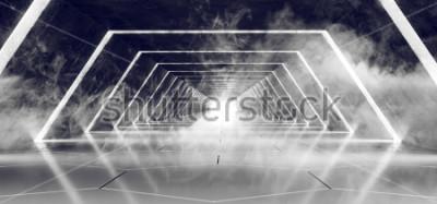 Fotomural Sci Fi Futurista Moderno Fumo Vazio Escuro E Névoa Concreto Telhado Corredor De Túnel Alienígena Com Fulgor Branco Superfície Reflexiva Fundo Elegante 3D Renderização De Ilustração