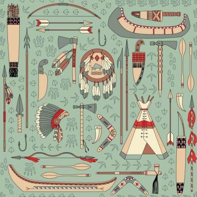 Fotomural seamless com atributos nativos americanos
