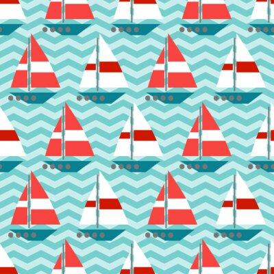 Fotomural Seamless com veleiros nas ondas
