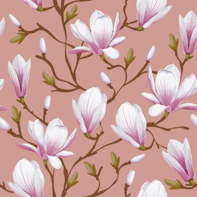 Fotomural Seamless floral - magnólia