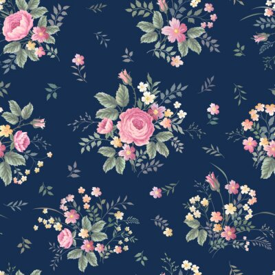 Fotomural Seamless, floral, Padrão, com, rosÈ, buquet, ondark, azul, fundo