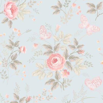 Fotomural Seamless, floral, Padrão, rosas, borboletas