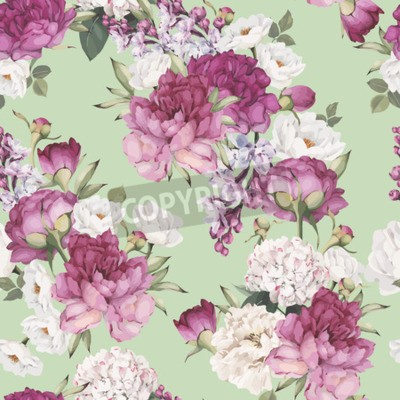 Fotomural Seamless floral pattern with peonies. Vector