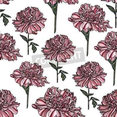 Fotomural Seamless floral pattern with peony on white background.  Vector illustration. Typography design elements for prints, cards, posters, products packaging, branding.