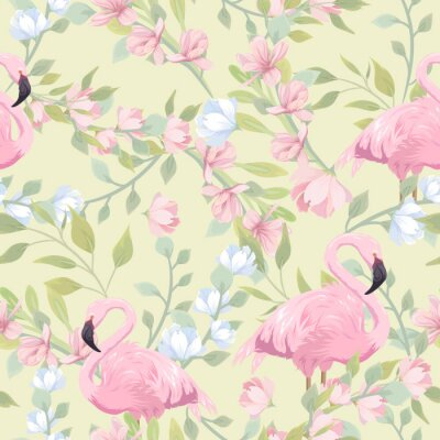 Fotomural Seamless gentle pattern with pink flowers and flamingo