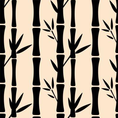 Fotomural Seamless, Padrão, pretas, silhuetas, bambu, árvores