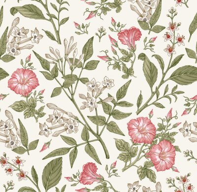 Fotomural Seamless pattern. Beautiful fabric blooming realistic isolated flowers. Vintage background. Set Jasmine Petunia Croton wildflowers. Wallpaper baroque. Drawing engraving. Vector victorian illustration