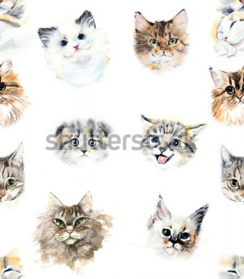 Fotomural Seamless pattern with cats. Watercolor hand drawn illustration