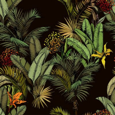 Fotomural Seamless pattern with green tropical leaves and exotic flowers. Hand drawn vector illustration on black background.