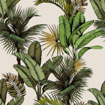 Fotomural Seamless pattern with green tropical palm and banana leaves. Hand drawn vector illustration on beige background.