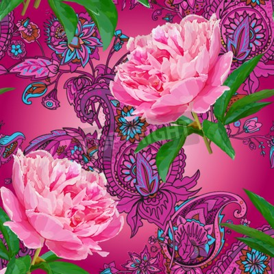 Fotomural Seamless pattern with peonies
