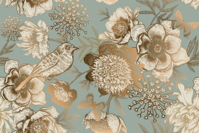Fotomural Seamless pattern with peonies, bird and butterflies. Vintage.