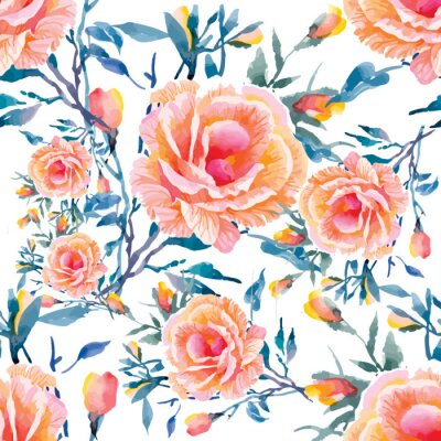Fotomural Seamless patterns with Beautiful flowers, watercolor illustration