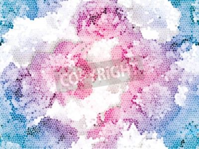 Fotomural Seamless peony mosaic. Pink blue flower pattern. Peony texture