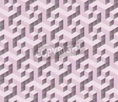 Fotomural seamless rosa cubo 3d isométrica padrão sem emenda. Fundo colorido digital abstrata geométrica.