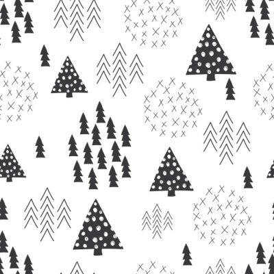 Fotomural Seamless scandinavian estilo ilustração simples fundo da árvore de Natal