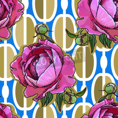 Fotomural Seamless trend pattern - peony flower on ornamental background. Vintage style