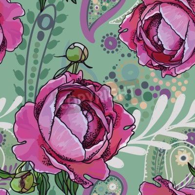 Fotomural Seamless trend pattern - peony flowers and paisley.