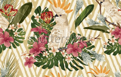 Fotomural Seamless tropical pattern background with tropical flowers and cockatoo bird. Tropicana wallpaper, digital paper, raster illustration in vintage Hawaiian style.
