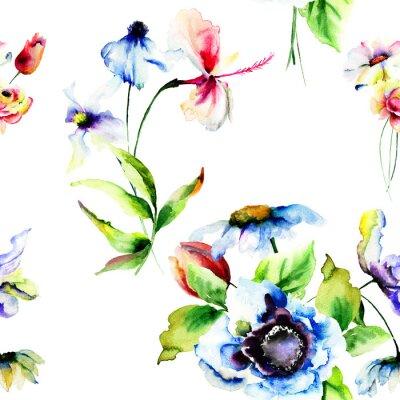Fotomural Seamless wallpaper com flores estilizadas