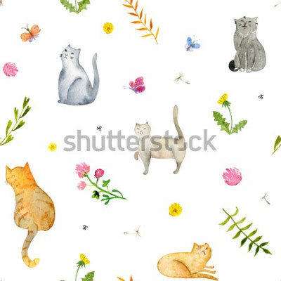 Fotomural Seamless watercolor pattern with cats and flowers on white background. Stock illustration.