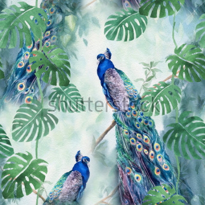 Fotomural Seamless watercolor pattern with peacock