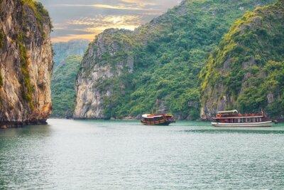 Fotomural Seascape, pôr do sol, Halong, baía