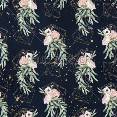 Fotomural Sem costura aquarela olea padrão floral com ramos de Oliveira, folhas, blush buquês de flores, salpicos de tinta e formas geométricas ouro sobre fundo preto