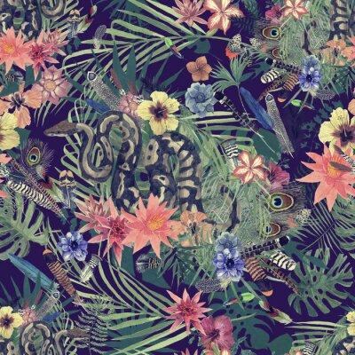 Fotomural Sem costura mão desenhada padrão aquarela com boa, flores, penas.