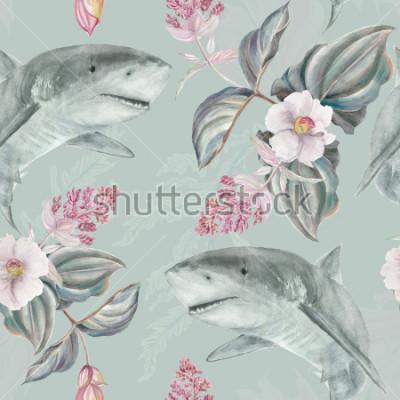 Fotomural Sem costura mão ilustrada padrão floral com rosa Medinilla Magnifica e tubarão