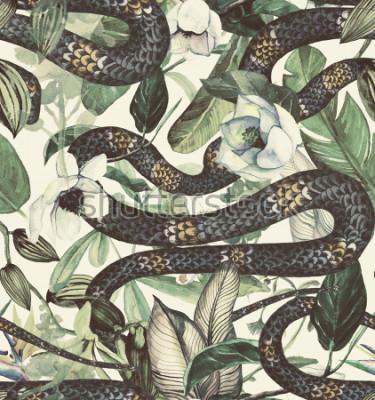 Fotomural Sem costura padrão aquarela com flores tropicais, magnólia, flor de laranjeira, baunilha orquídea, folhas tropicais, folhas de bananeira