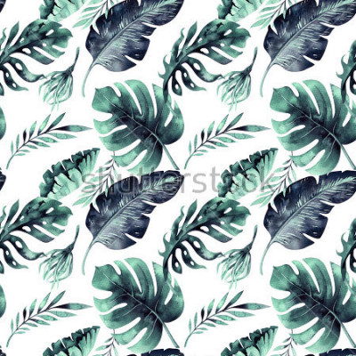 Fotomural Sem costura padrão aquarela de folhas tropicais, selva densa. Folha de palmeira de pintados à mão. A textura com verão tropico pode ser usada como o fundo, o papel de envolvimento, o projeto de matéri