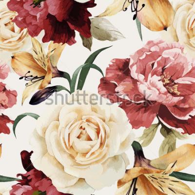 Fotomural Sem costura padrão floral com rosas, aquarela. Ilustração vetorial