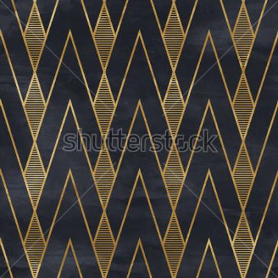 Fotomural Sem costura padrão geométrico na textura de papel. Art Deco fundo,