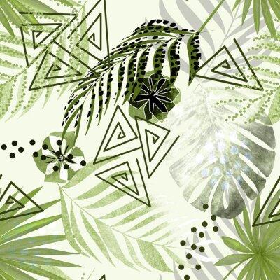Fotomural Sem costura padrão tropical colorido. Folhas de palmeira verdes, fundo branco das flores.