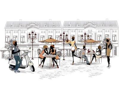 Fotomural Série das ruas com as pessoas e músicos da cidade velha